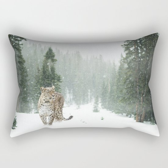 Leopard in the Snow Rectangular Pillow