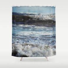 Blue 'tilt' wake Shower Curtain