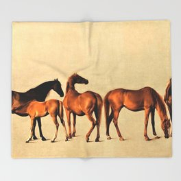 Classical Master Piece Circa 1762  Rockingham Mares and Foals by George Stubbs Throw Blanket