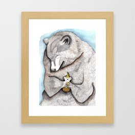 """Bear Hug"" - bear painting watercolor, honey bear art, grizzly bear hug,  Framed Art Print"