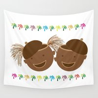 hats Wall Tapestries featuring  Coconut Twins With Hats by HK Chik