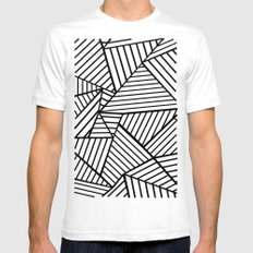Abstraction Lines Close Up Black and White Mens Fitted Tee White SMALL