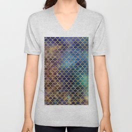 Bedazzled Mermaid Scales Unisex V-Neck