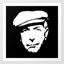 leonard cohen black white art Art Print