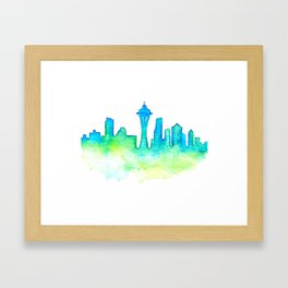 Seattle Skyline Watercolor in Blue and Green Framed Art Print
