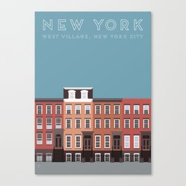West Village NYC Travel Poster Canvas Print