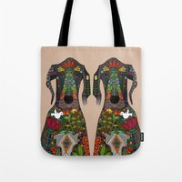 great dane Tote Bags featuring Great Dane love beige by Sharon Turner