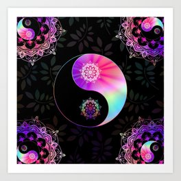 'Divine Balance' Yin Yang Black Pink Purple Blue Art Print