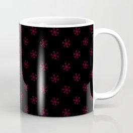 Burgundy Red on Black Snowflakes Coffee Mug