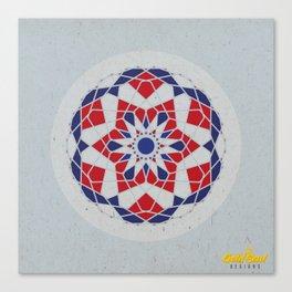 Mandala no.5 Red & Navy Canvas Print