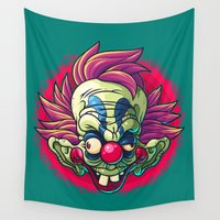 clown Wall Tapestries featuring Killer Clown by Artistic Dyslexia