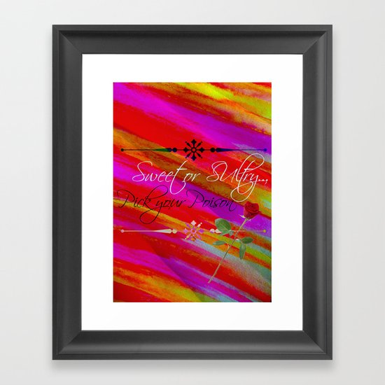 Sweet or Sultry - Sexy Crimson Red Valentine's Day Stripes Typography Abstract Watercolor Painting Framed Art Print