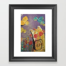 Cat in the city Framed Art Print