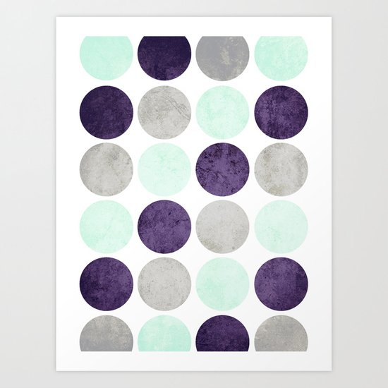 Circles (Mint, Purple, Gray) Art Print