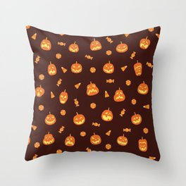 Orange pumpkin scary faces and candy halloween hand drawn illustration pattern on dark background Throw Pillow