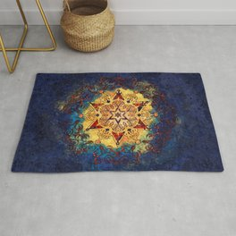 Star Shine in Gold and Blue Rug