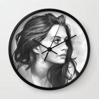 minimalist Wall Clocks featuring Anne Hathaway minimalist illustration by Thubakabra