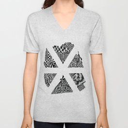Asterisk, Black/White Abstract (ink drawing) Unisex V-Neck