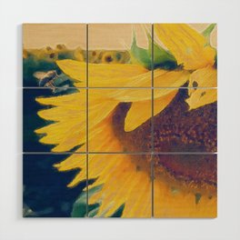 sunflower and little bee Wood Wall Art