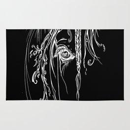 Tribal Horse white on black Rug