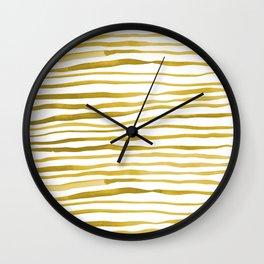 Irregular watercolor lines - yellow Wall Clock