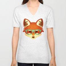 Hipster Fox: Azure Unisex V-Neck