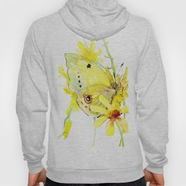 Yellow Butterfly and Yellow Flowers Hoody
