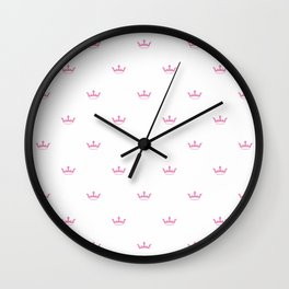 Hot Pink Crown pattern Wall Clock