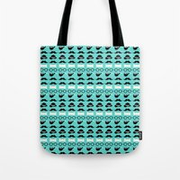 moustache Tote Bags featuring moustache by lilumon
