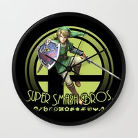 smash bros Wall Clocks featuring Link - Super Smash Bros. by Donkey Inferno