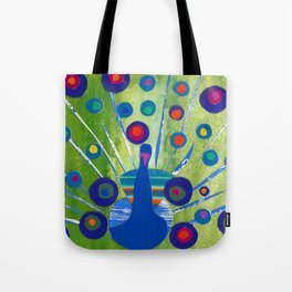 Polka dot peacock Tote Bag