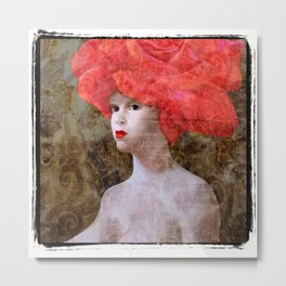 """Goddess with a Rose Hat. Variations on a Theme. """"Woman with a Hat"""" Series Metal Print"""