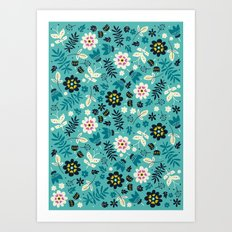 Fresh Blossoms (Greens) Art Print