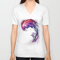 surfing V-neck T-shirts featuring Space Surfing by nicebleed
