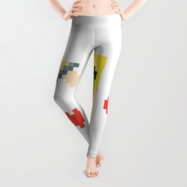 Pixel art mine craft warrior sword hearts Leggings