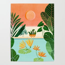 Shangri La Sunset / Exotic Landscape Illustration Poster