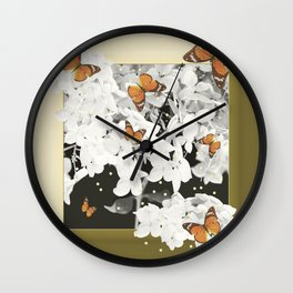 Hydrangea And Butterflies in Frame #decor #society6 Wall Clock