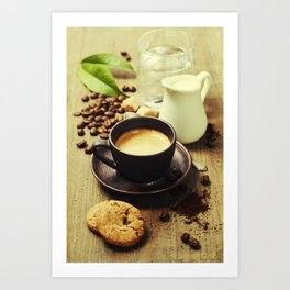 Coffee, milk and cookies on wooden background Art Print