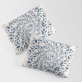 Indigo Leaves Mandala Pillow Sham