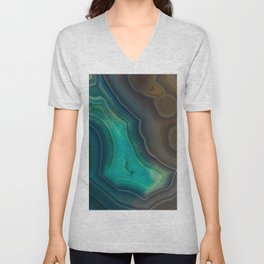 Lake Like Teal & Brown Agate Unisex V-Neck