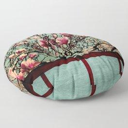 Pink Japanese Magnolia Tree in Flower Floor Pillow