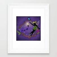 tinker bell Framed Art Prints featuring Sihouette Tinker Bell by Katie Simpson a.k.a. Redhead-K