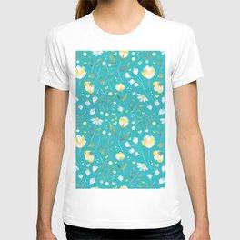 Colourscape Summer Floral Pattern Turquoise Lemon T-shirt