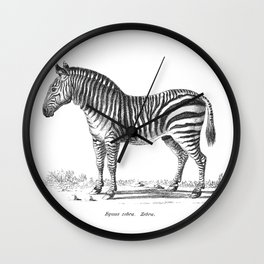 Zebra black and white retro drawing Wall Clock