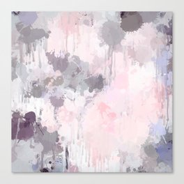 Modern Contemporary soft Pastel Pink Grey Abstract Canvas Print