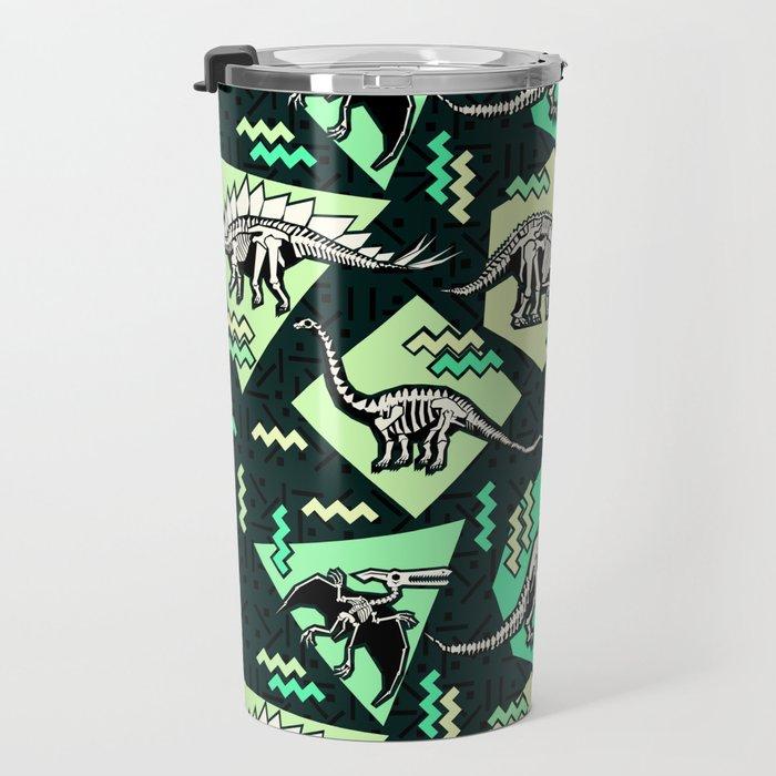 90's Dinosaur Skeleton Neon Pattern Travel Mug