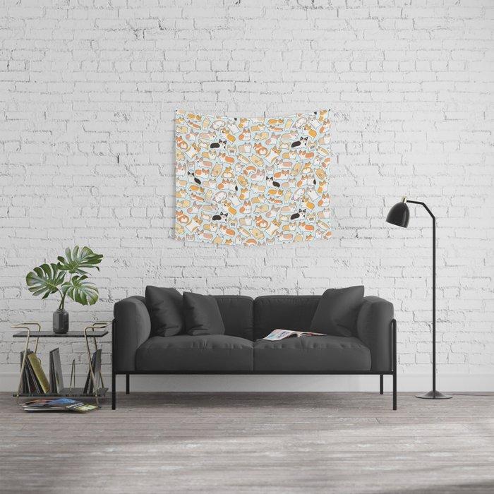 Corgilicious Corgi Doodle Wall Tapestry