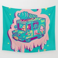 """truck Wall Tapestries featuring I Scream """"Truck!"""" by Nate Bear"""