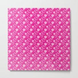 Elegant classy delicate distressed blooming rose flowers pattern. Retro vintage vivid pink floral Metal Print