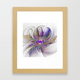 Energetic, Abstract And Colorful Fractal Art Flower Framed Art Print